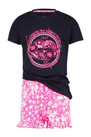 shortama Wilder met all over print donkerblauw/roze