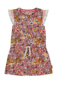Vingino jurk Patty met all over print en ruches roze/geel/wit, Roze/geel/wit