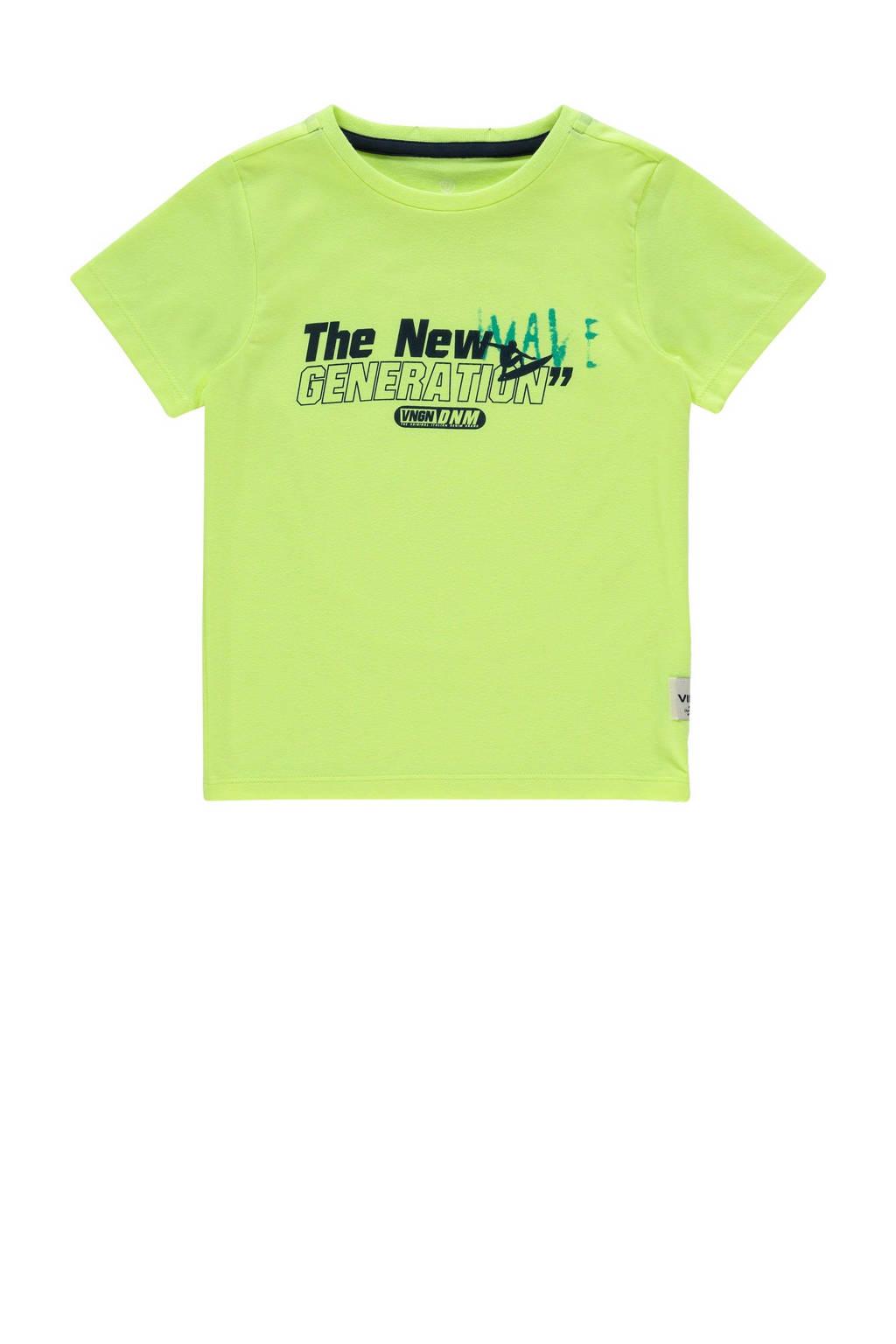 Vingino T-shirt Hero met tekst neon geel, Neon geel