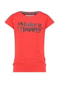 Vingino T-shirt Hirae met tekst koraalrood, Koraalrood