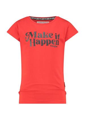 T-shirt Hirae met tekst koraalrood