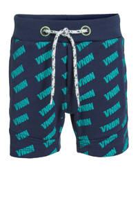 Vingino sweatshort Ramon met zijstreep donkerblauw/groen, Donkerblauw/groen