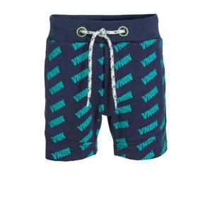sweatshort Ramon met zijstreep donkerblauw/groen