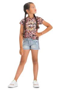 Vingino T-shirt Henya met all over print roze/geel, Roze/geel