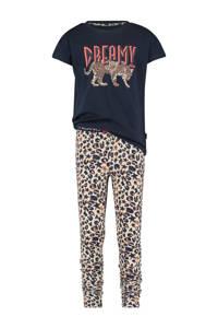 Vingino pyjama Winner met all over print donkerblauw/lichtbruin, Donkerblauw/lichtbruin