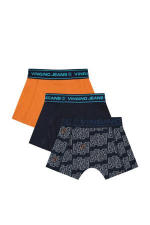 boxershort Bingo - set van 3 donkerblauw/oranje