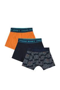Vingino   boxershort Bingo - set van 3 donkerblauw/oranje, Donkerblauw/oranje