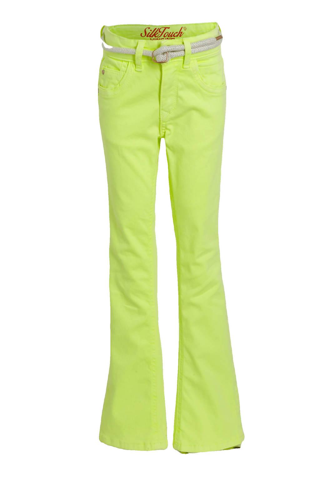 Vingino high waist flared broek Belize Flare neon geel, Neon geel