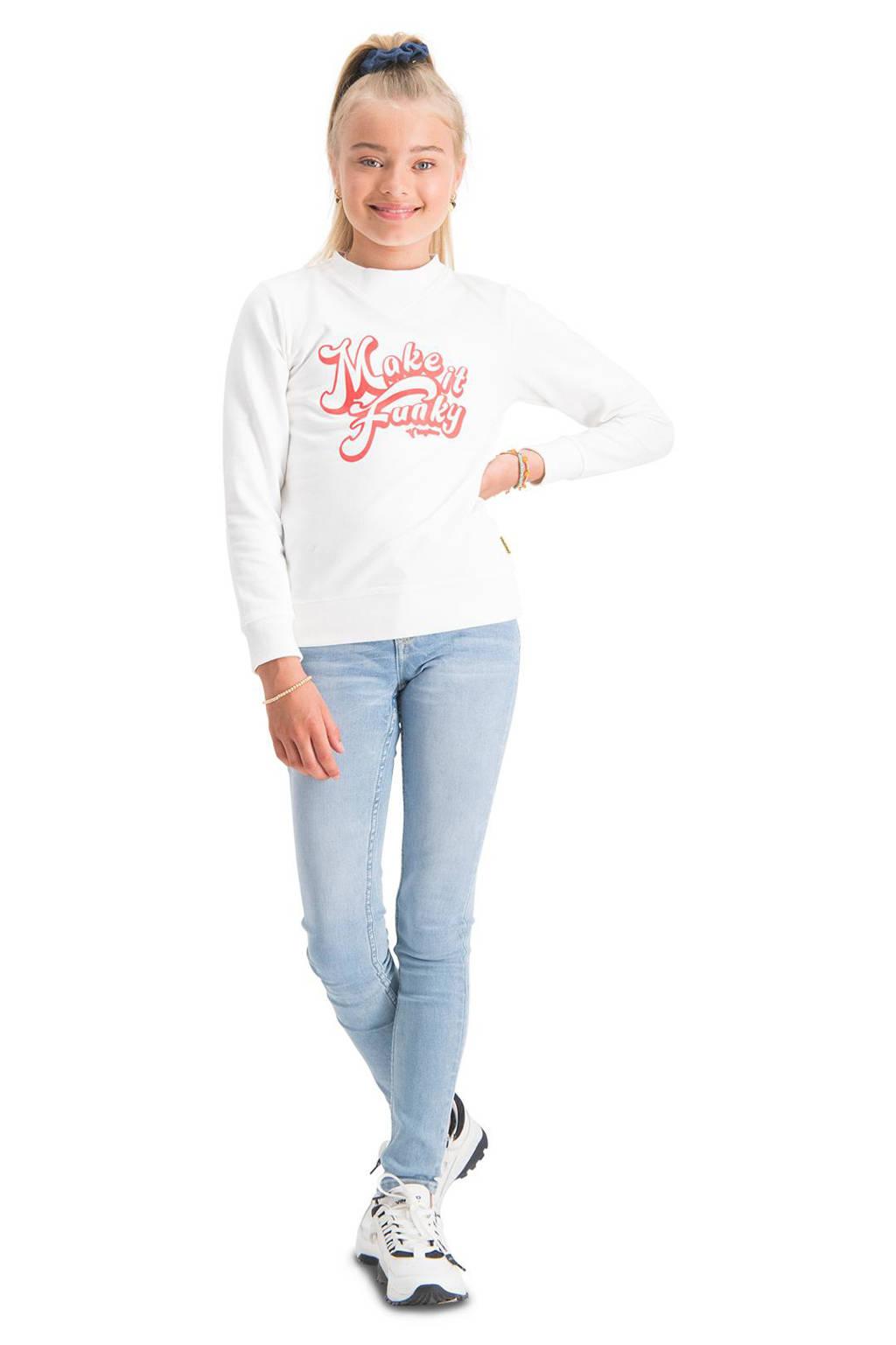 Vingino sweater Nieneke met tekst wit, Wit