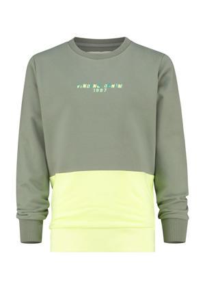 sweater Nexto licht armgroen/geel