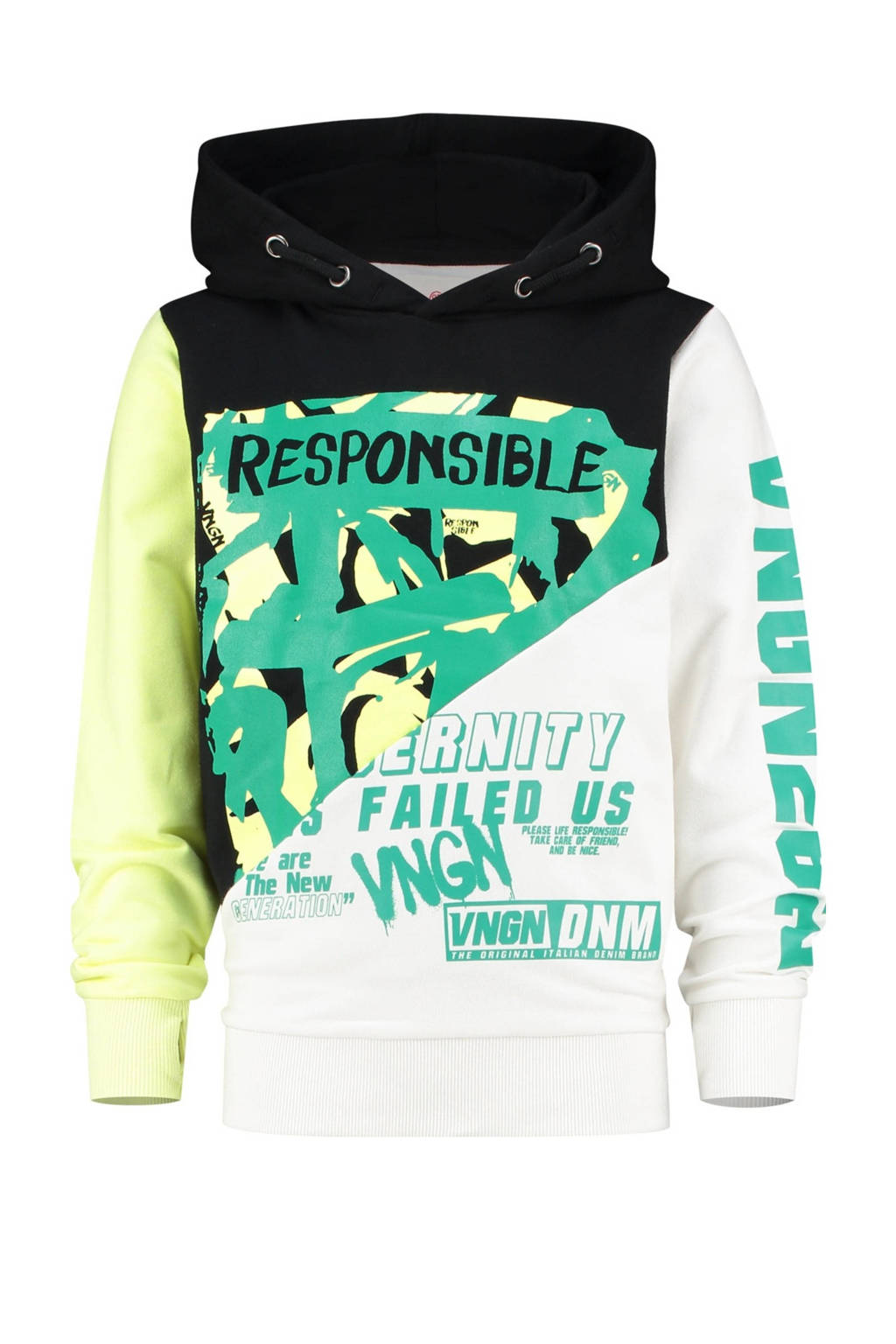 Vingino hoodie Noox met all over print zwart/multicolor, Zwart/multicolor