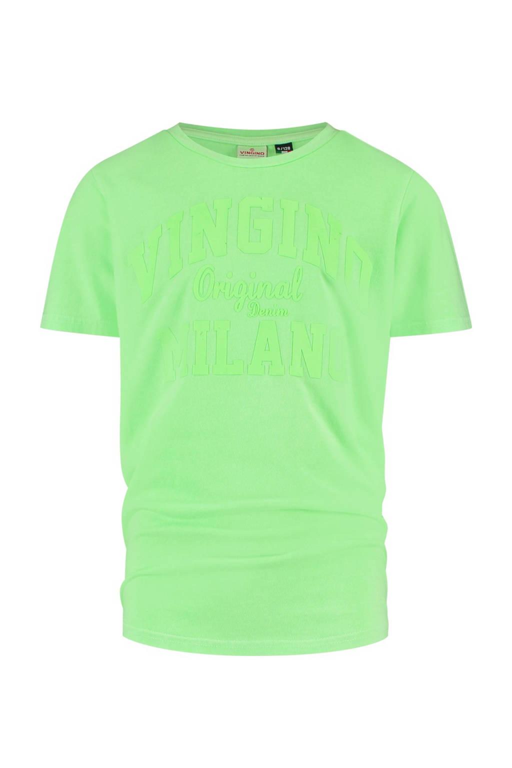 Vingino Essentials T-shirt met logo neon groen, Neon groen