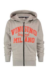 Vingino Essentials vest met logo grijs melange/rood, Grijs melange/rood