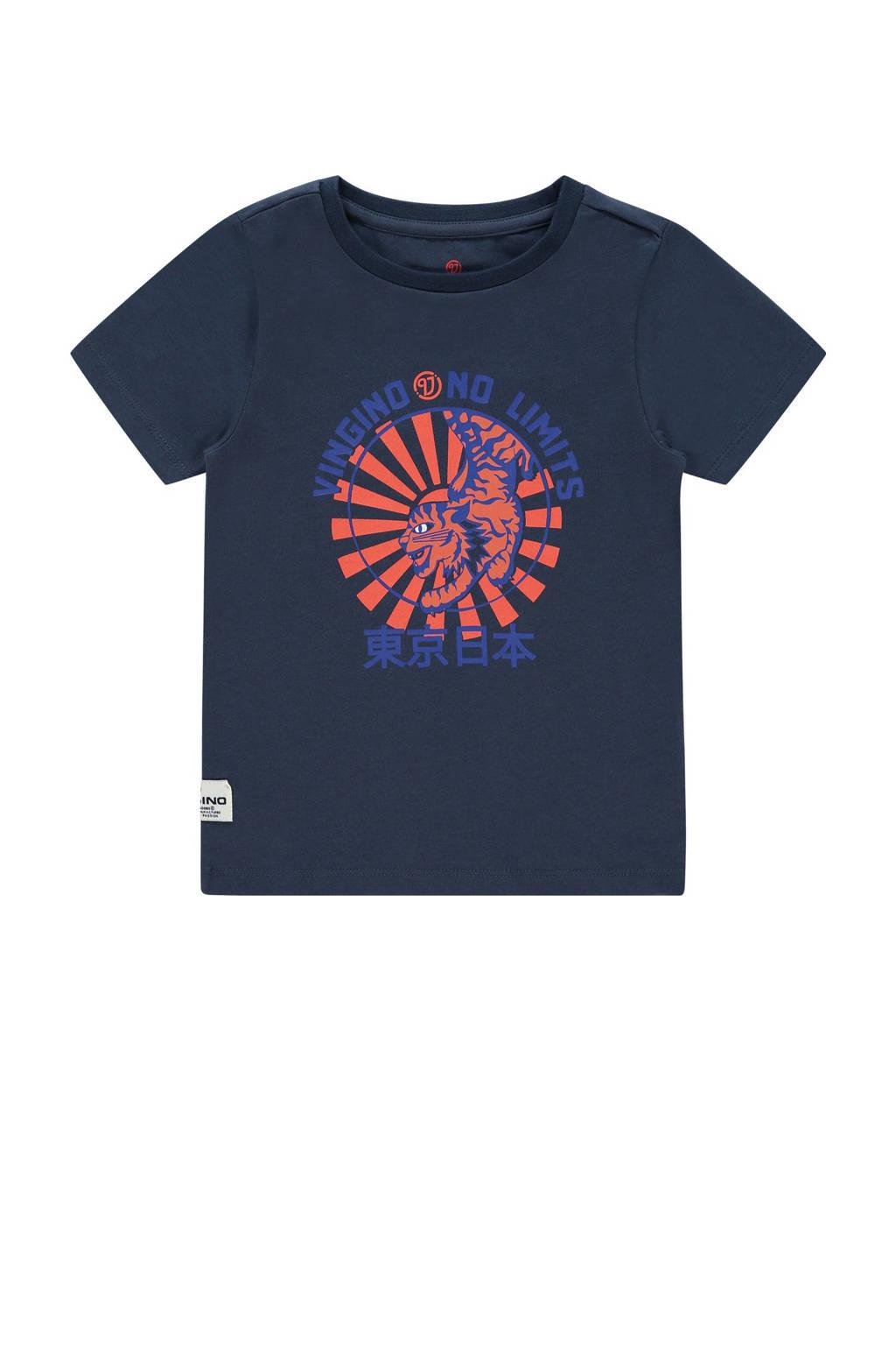 Vingino T-shirt Hamza met printopdruk donkerblauw, Donkerblauw