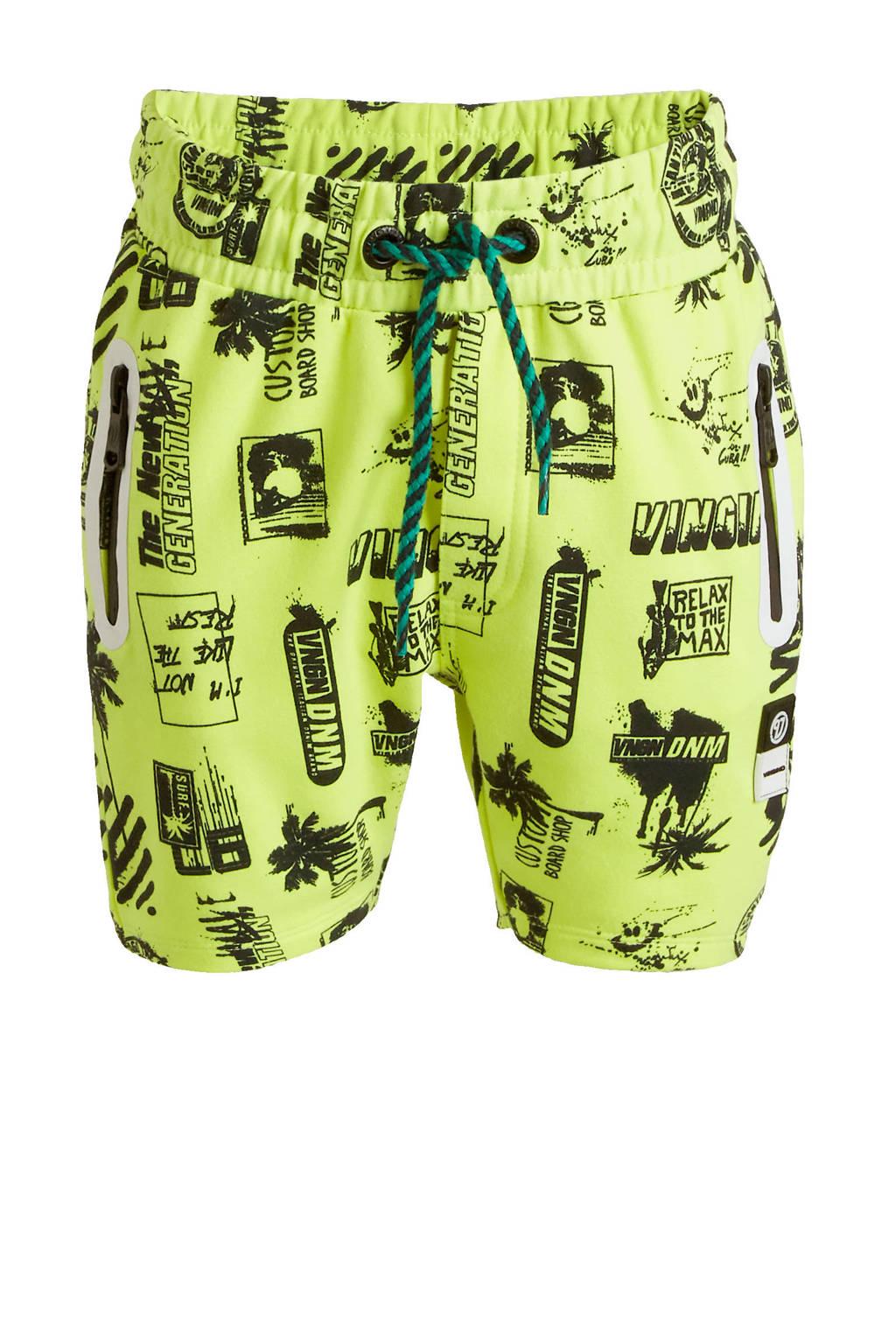 Vingino sweatshort Ronin met all over print neon geel/zwart, Neon geel/zwart