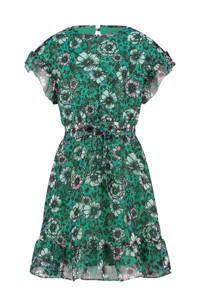Vingino semi-transparante jurk Princie met all over print en volant groen/zwart, Groen/zwart