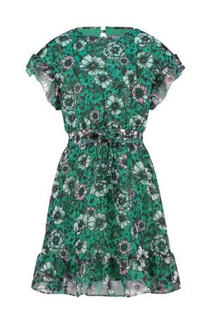 semi-transparante jurk Princie met all over print en volant groen/zwart