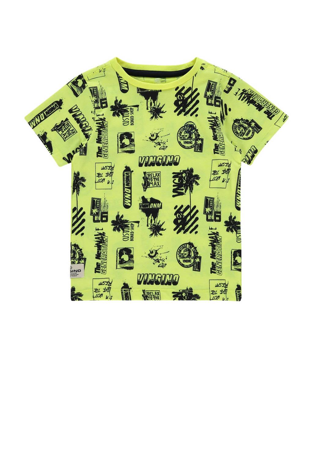 Vingino T-shirt Hozan met all over print neon geel/zwart, Neon geel/zwart