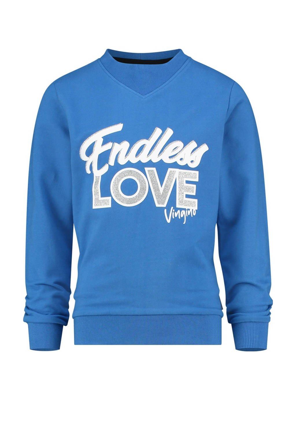 Vingino sweater Nieneke met tekst blauw, Blauw
