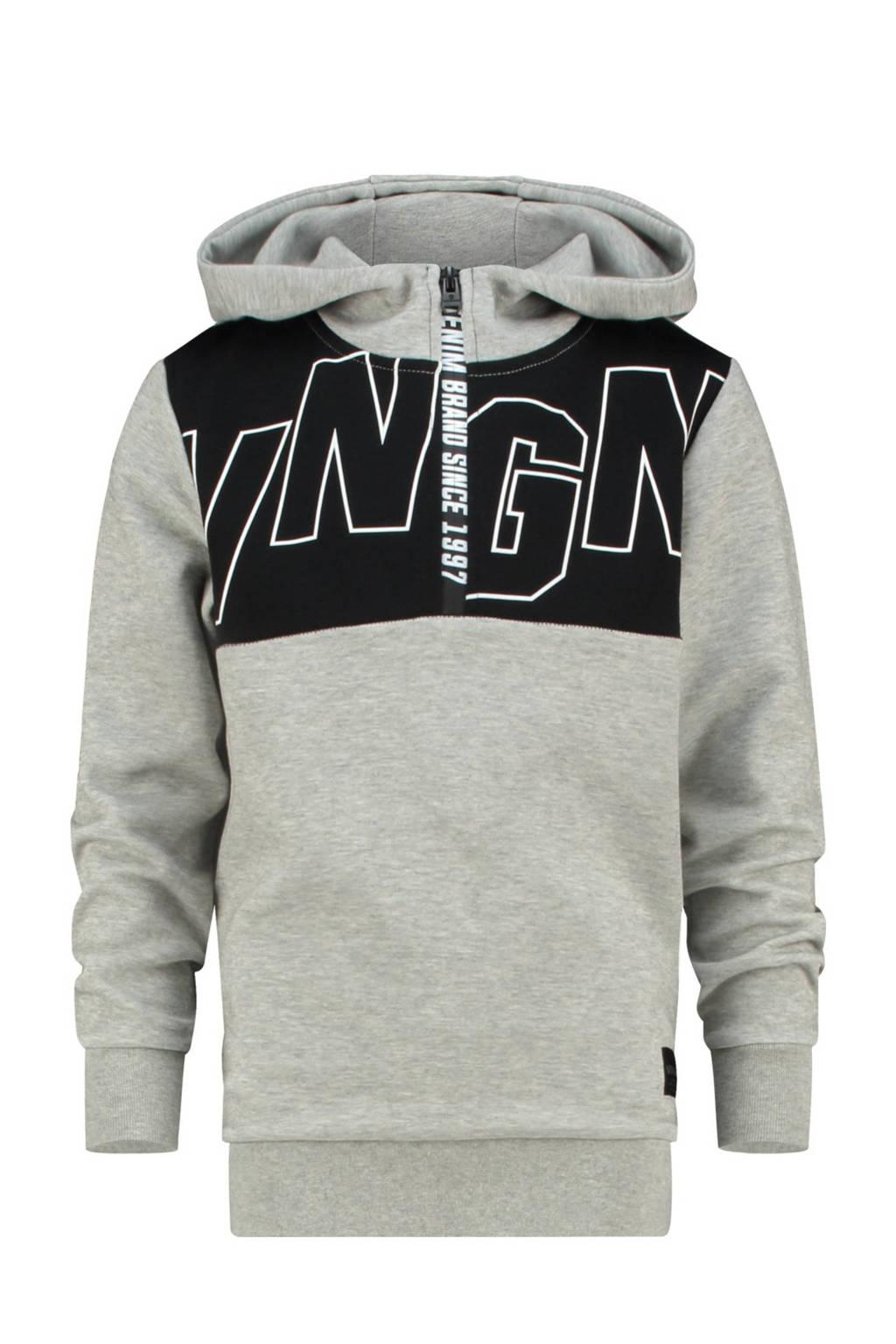 Vingino hoodie Nijato met printopdruk grijs melange/zwart, Grijs melange/zwart