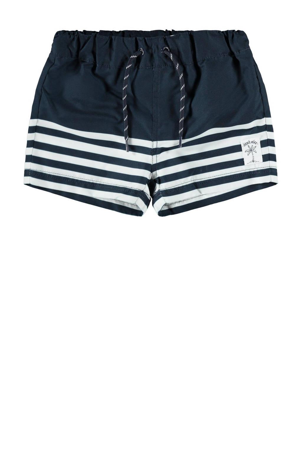 NAME IT MINI zwemshort Zimbal met strepen donkerblauw/wit, Donkerblauw/wit