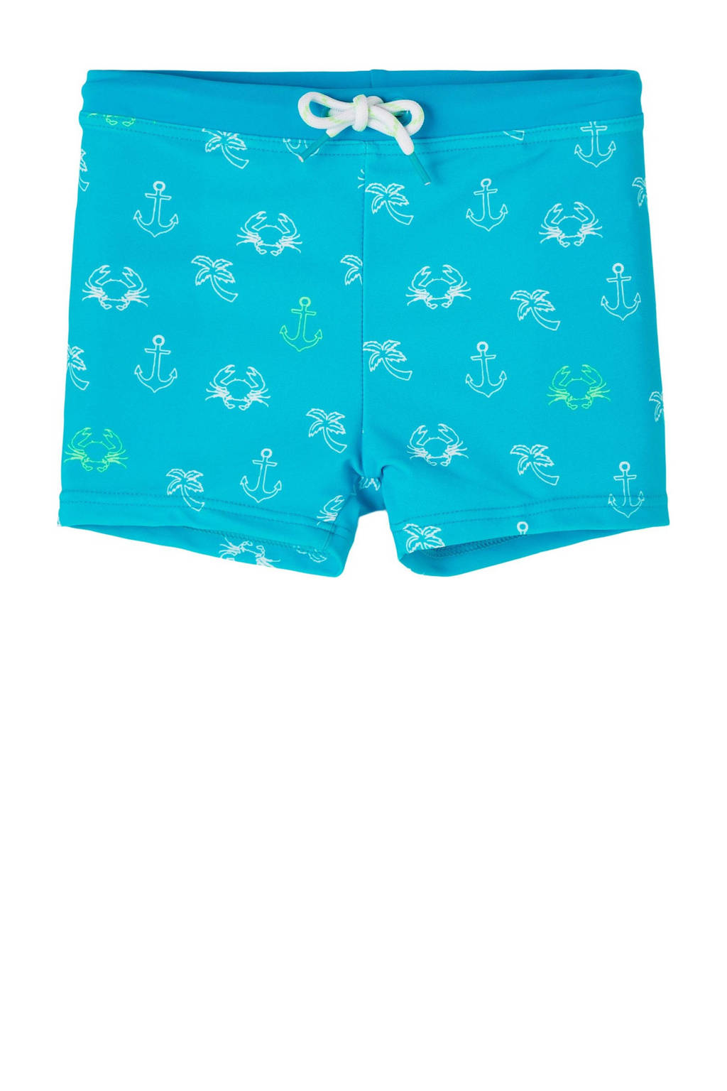 NAME IT MINI zwemboxer Zean met all over print turquoise/wit, Turquoise