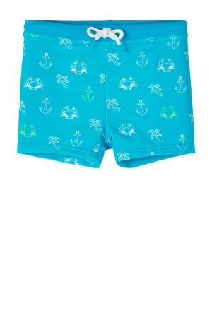 zwemboxer Zean met all over print turquoise/wit
