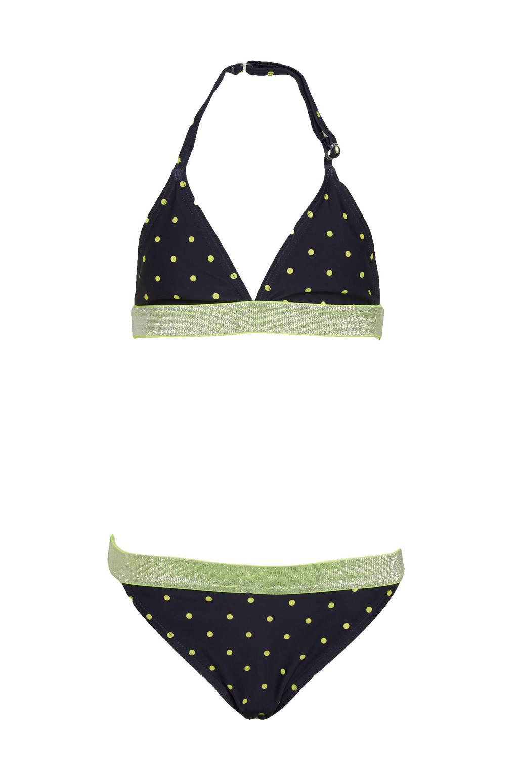 NAME IT KIDS triangel bikini Zeleste met stippen donkerblauw/geel, Donkerblauw/geel