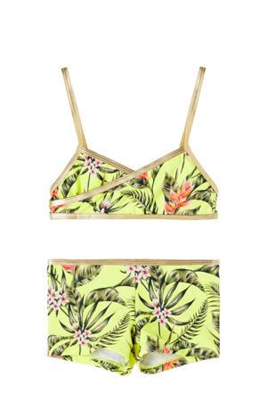 crop bikini Tinaya met jungle print geel/groen