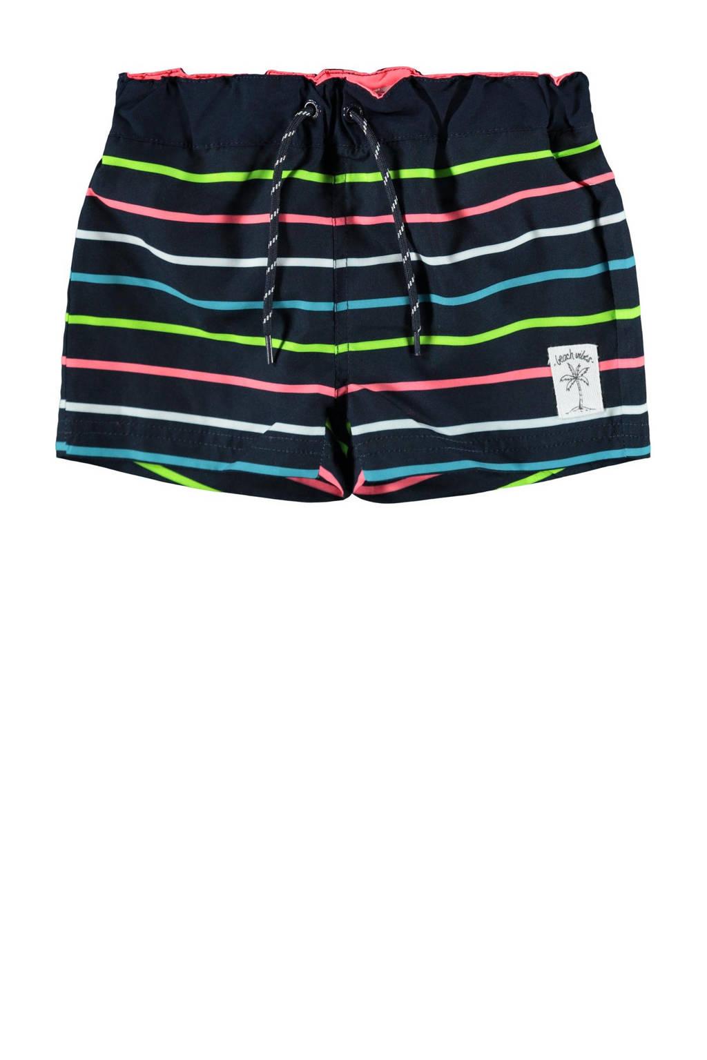 NAME IT MINI gestreepte zwemshort Zimbal donkerblauw/neon, Donkerblauw/neon