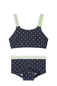 NAME IT KIDS crop bikini Zeleste met stippen donkerblauw/geel, Donkerblauw/geel