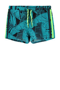 NAME IT KIDS zwemboxer Zattan met all over print turquoise, Turquoise
