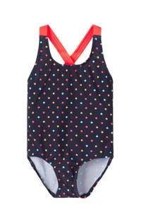 NAME IT MINI badpak Zamara met stippen donkerblauw/rood, Donkerblauw/rood
