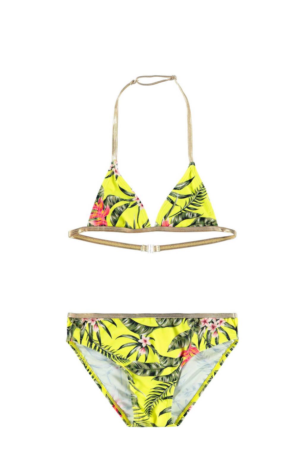 NAME IT KIDS triangel bikini Tinaya met jungle print geel/groen, Geel/groen