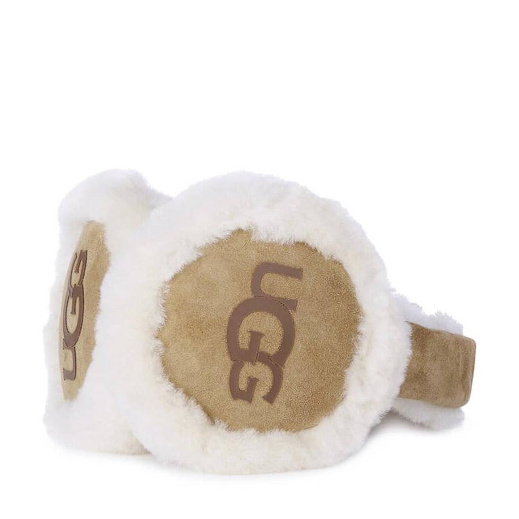 UGG suède oorwarmers + koptelefoon beige, Beige/wit