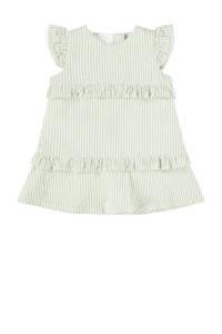 NAME IT BABY gestreepte baby jurk van biologisch katoen lichtgroen/wit, Lichtgroen/wit