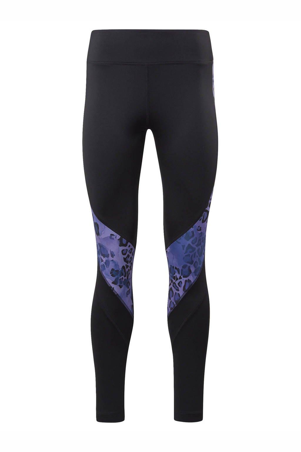 Reebok Training sportbroek zwart/paars, Zwart/paars