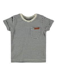NAME IT BABY baby gestreept T-shirt Fipan met biologisch katoen donkerblauw/wit, Donkerblauw/wit