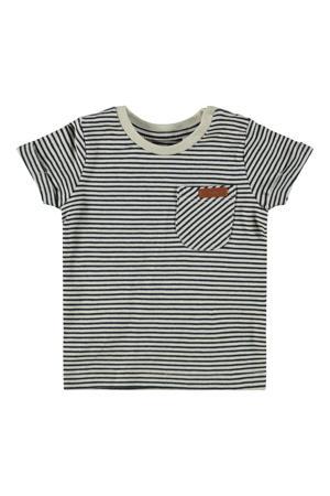 baby gestreept T-shirt Fipan met biologisch katoen donkerblauw/wit
