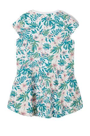 jurk Vigga van biologisch katoen groen/roze/ecru