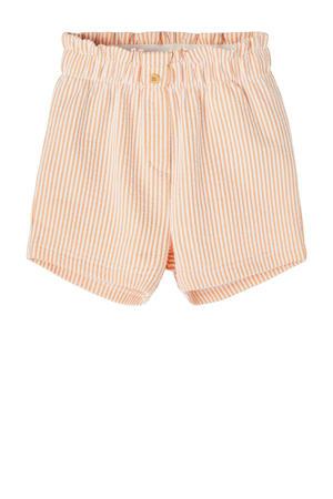 gestreepte short Fame oranje/wit
