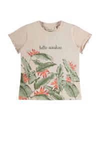 NAME IT MINI T-shirt Firenze met biologisch katoen beige/groen, Beige/groen