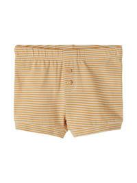NAME IT BABY baby gestreepte slim fit short Fipan met biologisch katoen geel/wit, Geel/wit