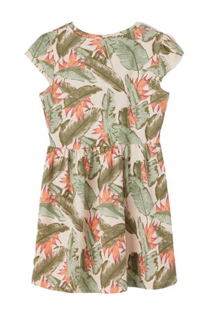 jurk Bloom met biologisch katoen groen/oanje/ecru