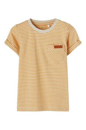 baby gestreept T-shirt Fipan met biologisch katoen geel/wit