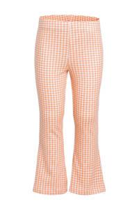 NAME IT MINI geruite flared broek met biologisch katoen oranje/wit, Oranje/wit