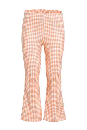 geruite flared broek met biologisch katoen oranje/wit