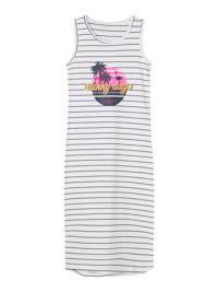 NAME IT KIDS gestreepte maxi jurk Vippa met biologisch katoen wit/blauw, Wit/blauw