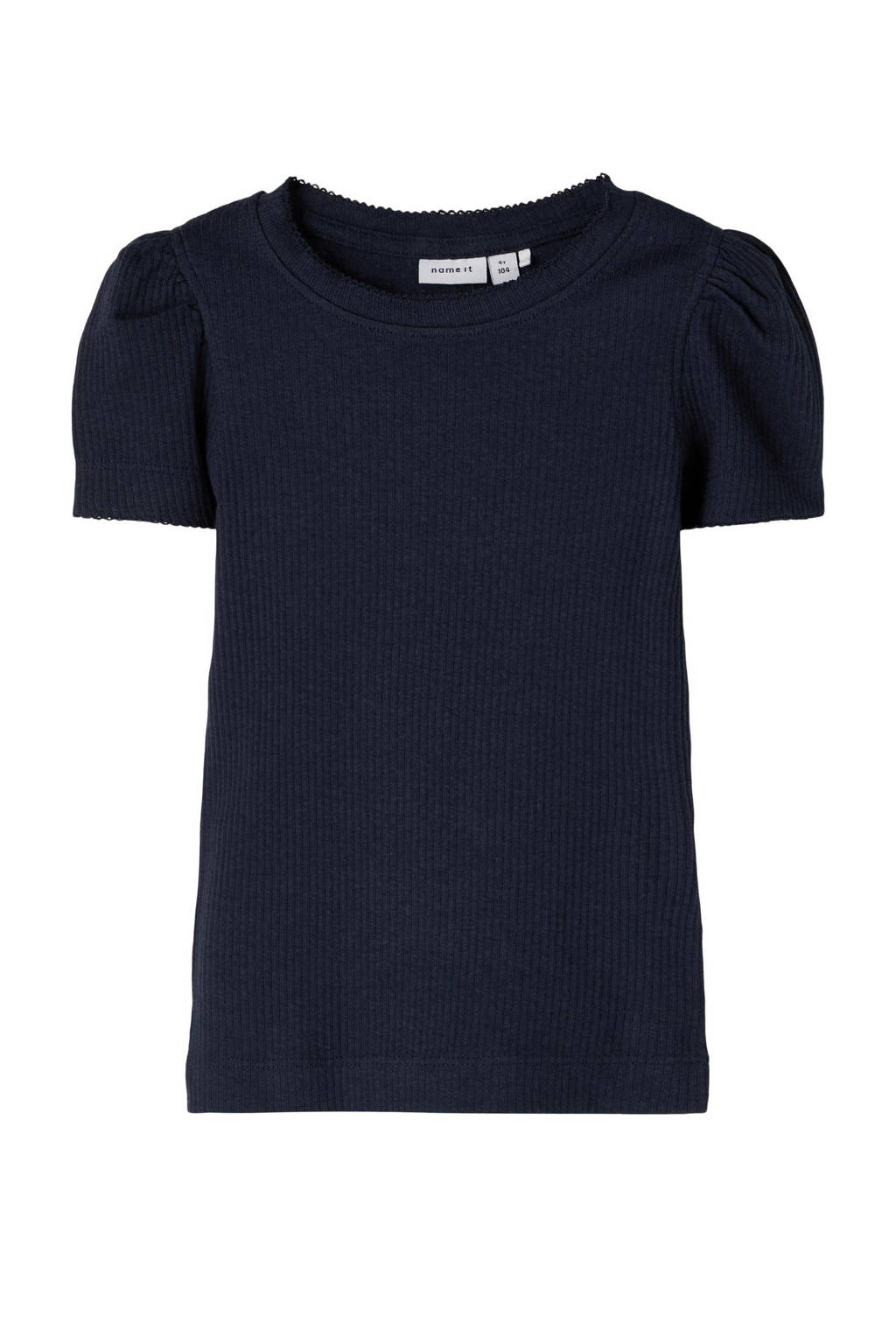 NAME IT MINI ribgebreid T-shirt Kabexi met biologisch katoen donkerblauw, Donkerblauw