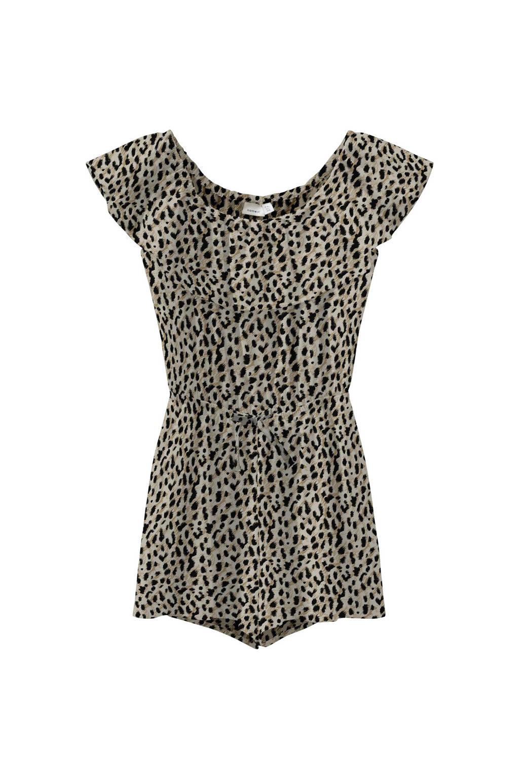 NAME IT KIDS jumpsuit Vinaya van gerecycled polyester bruin/zwart, Bruin/zwart